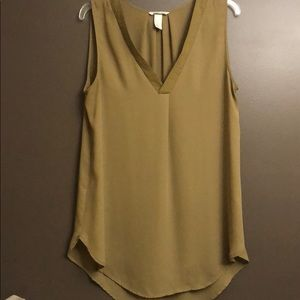 Chartreuse green sleeveless blouse H&M